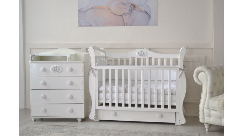 Кроватка для новорожденного Валерия (маятник, ящик; цв. белый) фото (1)