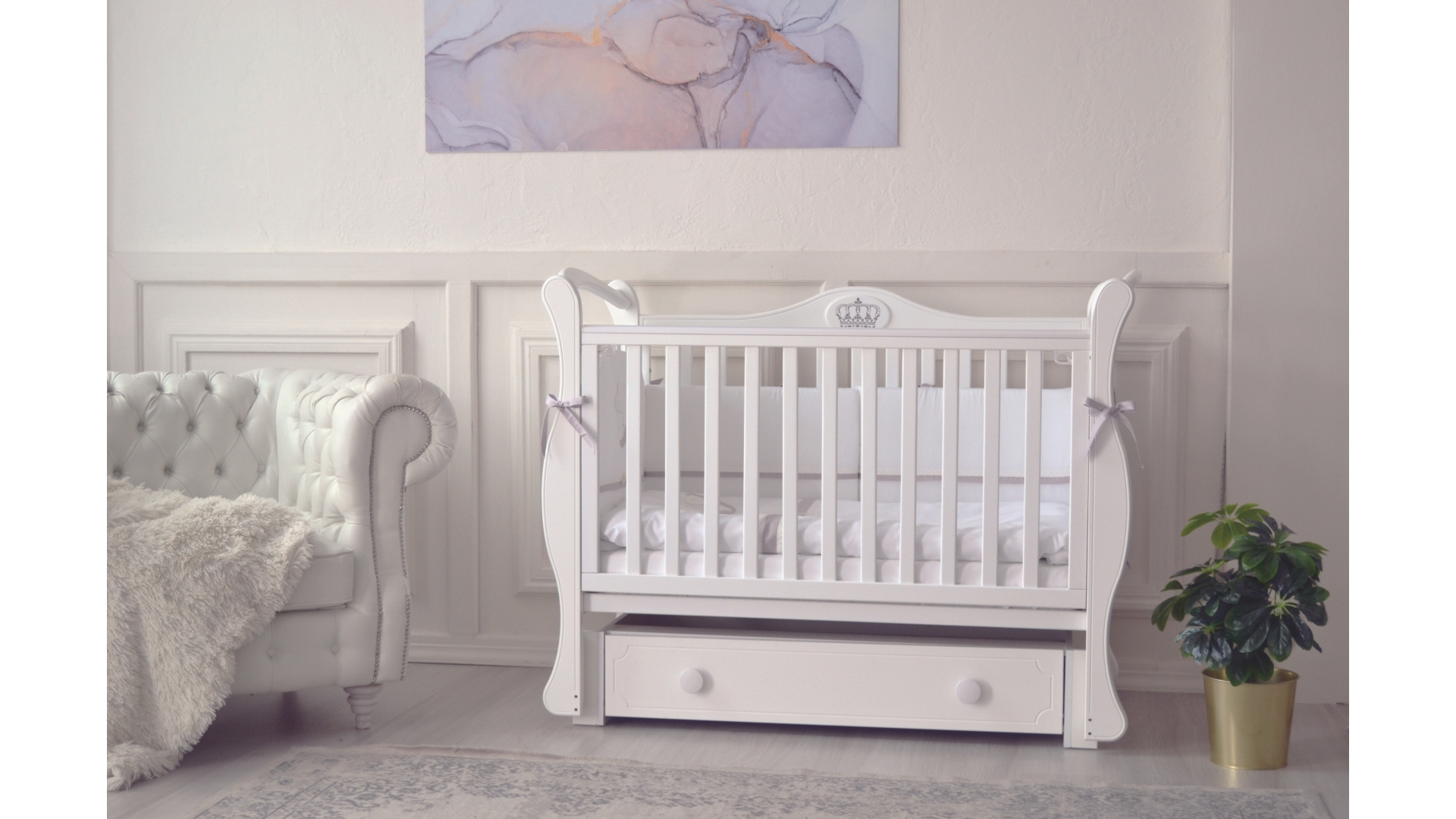 Кроватка для новорожденного Валерия (маятник, ящик; цв. белый) фото FullHD (0)