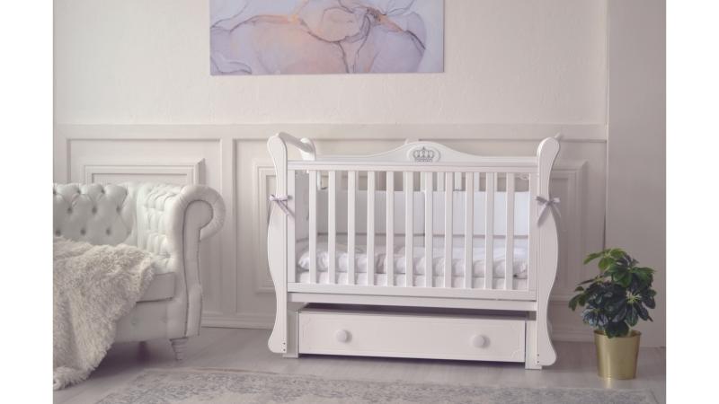 Кроватка для новорожденного Валерия (маятник, ящик; цв. белый) фото (0)