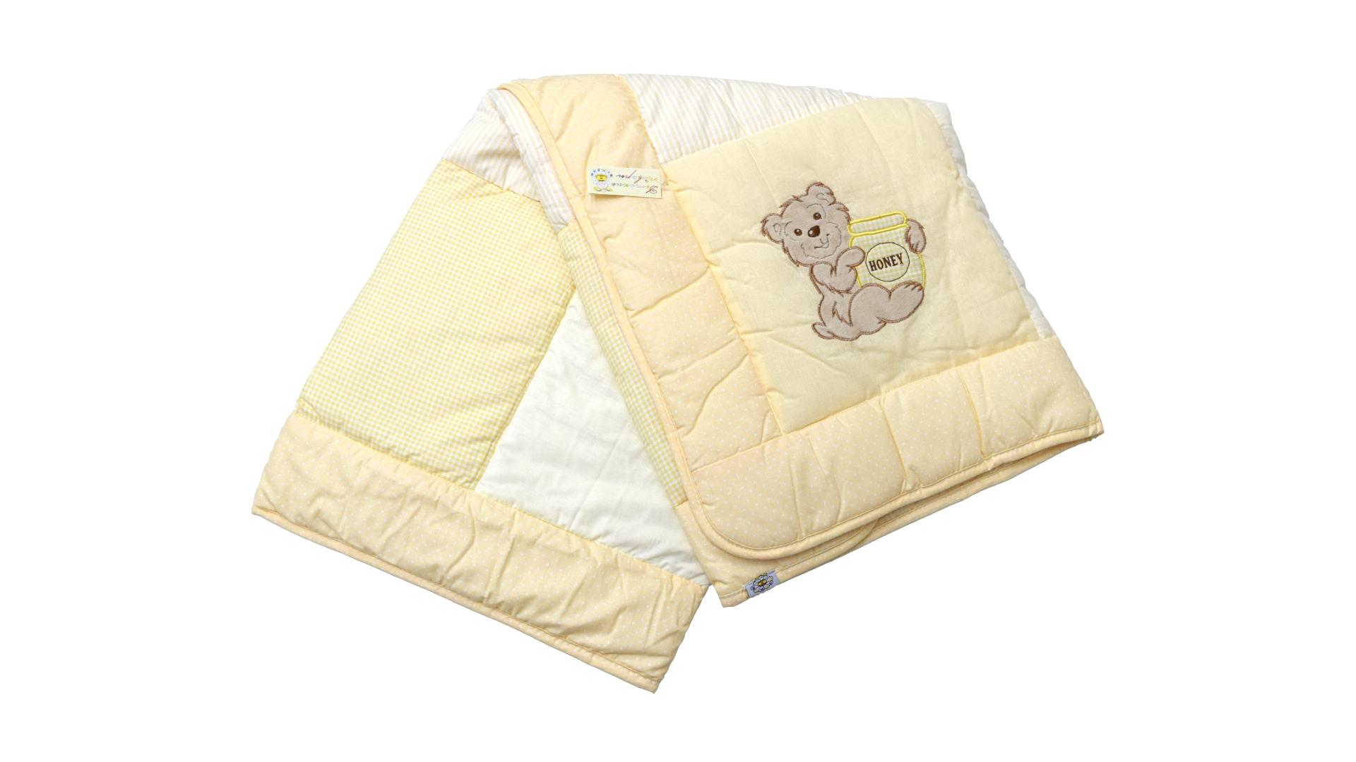 В кроватку новорожденного Одеяло лоскутное (жёлтое) фото FullHD (0)